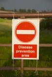 Segno di zona di prevenzione di malattia Fotografia Stock
