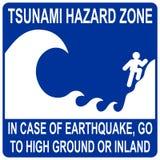 Segno di zona di rischio dei tsunami Immagini Stock Libere da Diritti