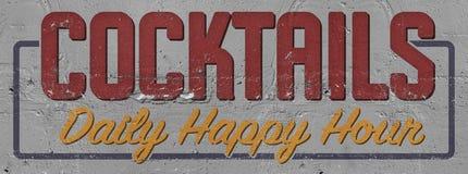 Segno dipinto happy hour dei cocktail su costruzione illustrazione vettoriale