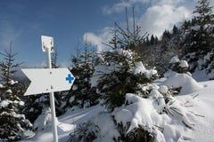 Segno direzionale sulla montagna Fotografie Stock Libere da Diritti