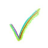 Segno disegnato a mano del segno di spunta di sì Fotografia Stock Libera da Diritti
