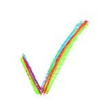 Segno disegnato a mano del segno di spunta di sì Fotografia Stock