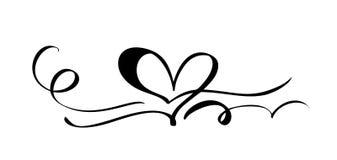 Segno disegnato a mano di amore del cuore Illustrazione romantica di vettore di calligrafia Simbolo dell'icona di Concepn per la  illustrazione vettoriale