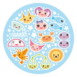 Segno divertente dello zodiaco di Kawaii, insieme astrologico dello stiker Immagini Stock Libere da Diritti