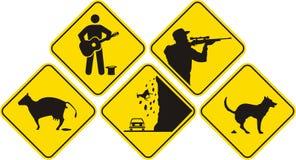 Segno divertente - il nero & colore giallo Fotografia Stock Libera da Diritti
