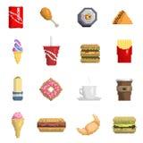 Segno dolce della frutta delle icone di vettore degli alimenti a rapida preparazione del pixel di cucina grafica dell'alimento di Fotografia Stock