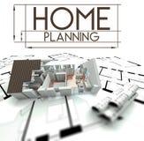 Segno domestico di pianificazione con il progetto della casa Immagini Stock Libere da Diritti