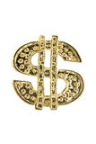 Segno dorato del dollaro Fotografie Stock Libere da Diritti