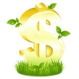 Segno dorato del dollaro con verde Fotografia Stock Libera da Diritti