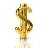 Segno dorato del dollaro su bianco Fotografia Stock