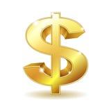 Segno dorato del dollaro Immagine Stock Libera da Diritti