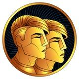 Segno dorato dello zodiaco dei Gemelli, simbolo dell'oroscopo di vettore illustrazione di stock