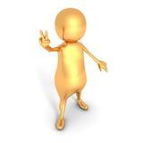 Segno dorato di 3d Person Showing Peace Victory Hand Fotografia Stock Libera da Diritti