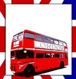 Segno e bus in bianco Immagini Stock