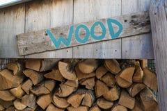 Segno e ceppi della legna da ardere Fotografia Stock Libera da Diritti