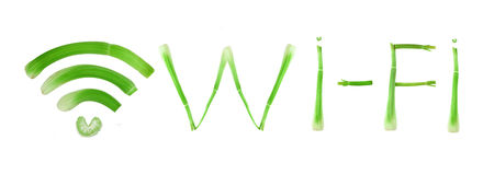 Segno e parola di Wi-Fi Fotografia Stock Libera da Diritti