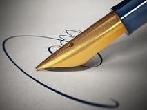 Segno e penna fittizi su carta illustrazione 3D Fotografia Stock Libera da Diritti