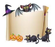 Segno e pipistrello del rotolo di Halloween illustrazione vettoriale