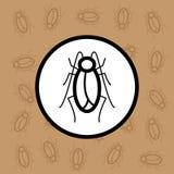 Segno e simbolo dell'icona della blatta su fondo marrone Immagine Stock Libera da Diritti