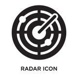 Segno e simbolo di vettore dell'icona del radar isolati su fondo bianco, illustrazione vettoriale