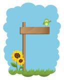Segno ed uccello di legno Fotografie Stock