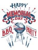 Segno felice del partito del barbecue di Memorial Day illustrazione di stock