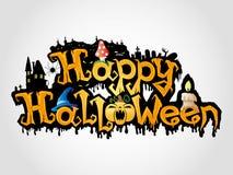 Segno felice di Halloween su fondo grigio. Fotografie Stock