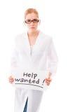 Segno femminile di aiuto di rappresentazione dello scienziato su fondo bianco Fotografia Stock