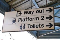 Segno ferroviario della piattaforma Immagine Stock Libera da Diritti