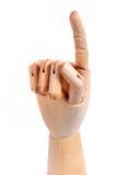 Segno fittizio di legno del punto della mano Fotografia Stock Libera da Diritti
