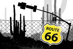 Segno a forma di dello schermo dell'itinerario 66 Fotografie Stock Libere da Diritti