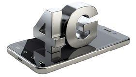 segno 4G sullo schermo dello Smart Phone Tecnologia mobile ad alta velocità di web Fotografia Stock
