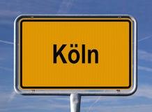 Segno generale dell'entrata della città di Colonia, Germania Fotografia Stock Libera da Diritti