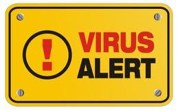 Segno giallo attento del virus - segno di rettangolo Immagini Stock Libere da Diritti