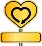 Segno giallo del cuore Immagine Stock