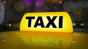 Segno giallo del taxi sull'automobile del tetto illustrazione di stock