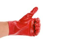 Segno GIUSTO con i guanti Fotografie Stock