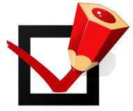 Segno giusto di vettore con la matita rossa illustrazione di stock