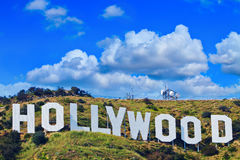 Segno iconico di Hollywood di Los Angeles, California fotografie stock libere da diritti