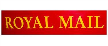 Segno inglese rosso della scatola di colonna o del contenitore di posta fotografia stock libera da diritti