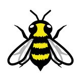 Segno lanuginoso sfocato minimalista semplice dell'icona di simbolo di logo dell'ape illustrazione di stock