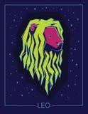Segno Leo dello zodiaco sul fondo stellato del cielo di notte Fotografie Stock