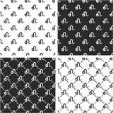 Segno Leo Freehand Seamless Pattern Set dello zodiaco Fotografia Stock Libera da Diritti
