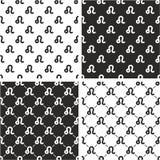Segno Leo Seamless Pattern Set dello zodiaco Fotografia Stock