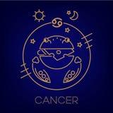 Segno, logo, tatuaggio o illustrazione di vettore dello zodiaco del Cancro illustrazione vettoriale