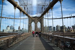 Segno, mattoni, vicino al ponte di Brooklyn Fotografie Stock Libere da Diritti