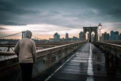 Segno, mattoni, vicino al ponte di Brooklyn Fotografia Stock