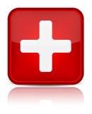 Segno medico del tasto del pronto soccorso con l'isolante di riflessione Fotografia Stock Libera da Diritti