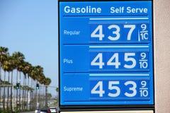 Segno molto in alto di prezzi di gas con le palme Immagine Stock Libera da Diritti