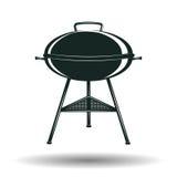 Segno monocromatico della griglia del BBQ Immagine Stock
